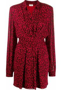 Saint Laurent Vestido Animal Print - Vermelho