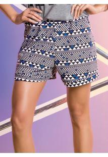 Shorts Geométrico Com Elástico Na Cintura