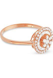 Anel Ouro Rosé E Diamante