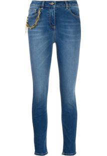 Elisabetta Franchi Calça Jeans Skinny Com Detalhe De Corrente - Azul