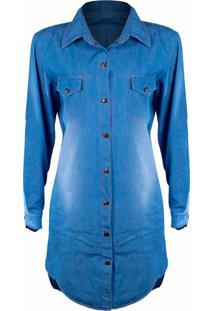 Vestido Outlet Dri Jeans Camisão Manga Longa 8 Botões Bolso Frontal Azul