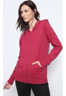 Jaqueta Em Moletom Com Capuz - Rosa Escurorovitex