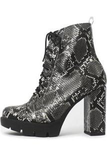 Bota Damannu Shoes Annie Salto Grosso Feminina - Feminino-Preto+Branco