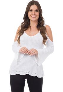 493eb5e915 Blusa Branca Flare feminina
