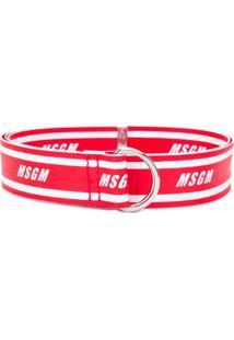 Msgm Cinto Com Logo - Vermelho
