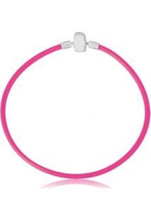 Pulseira De Prata Silicone Pink Infantil