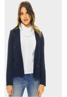 Blazer Risca De Giz Sob Com Abotoamento Duplo Feminino - Feminino-Azul Escuro