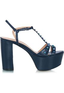 Luiza Barcelos Sandália Plataforma De Couro - Azul