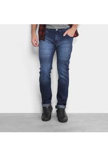 Calça Jeans Skinny Preston Escura Puídos Masculina - Masculino
