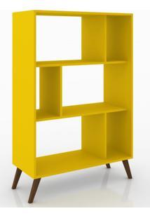 Estante Para Livros Com Nichos Retrô Rt 3015 Movelbento Amarelo