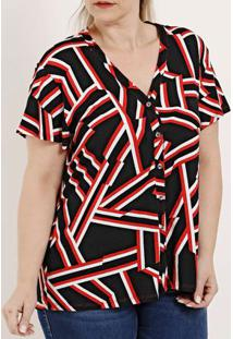 Camisa Manga Curta Plus Size Feminina Rovitex Preto