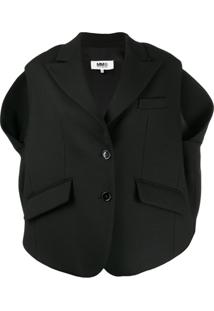 Mm6 Maison Margiela Boxy-Fit Sleeveless Jacket - Preto