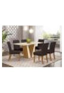 Mesa De Jantar Garda 160Cm 6 Cadeiras Maris - Nature/Off White/Marrom