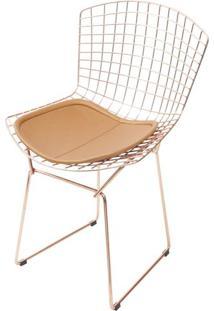 Cadeira Bertoia 1125 Em Aco Cor Cobre Com Almofada Cobre - 46651 - Sun House
