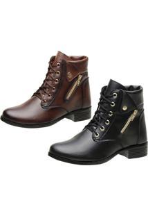 Kit 2 Coturnos Ousy Shoes Botinha Preto - Tricae