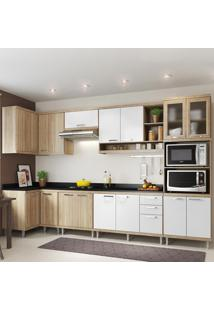 Cozinha Completa 15 Portas 3 Gavetas Com Tampo Sicilia 5831 Premium Argila/Branco - Multimóveis