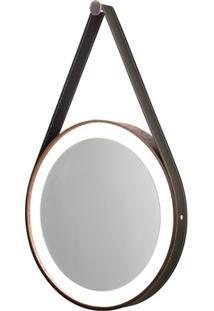 Espelho Redondo Com Led De Madeira Com Couro Imbuia Preto