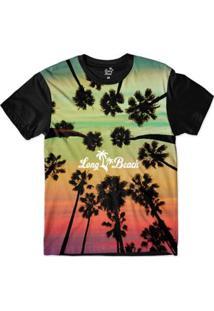 Camiseta Long Beach Lb Trees Sublimada Masculina - Masculino-Verde Claro+Preto
