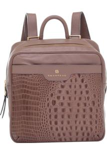 Mochila Couro Smartbag Croco Taupe - 77075.15