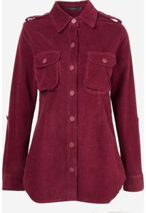 Camisa Rosa Chá Kendal Jeans Vinho Feminina (Vinho, Gg)