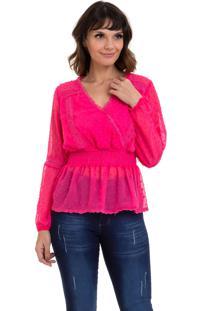 Blusa Bata Kinara Chiffon Lastex Na Cintura Pink - Tricae