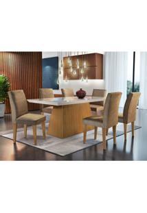 Conjunto De Mesa De Jantar Luna Imbuia E Off White Com 6 Cadeiras Grécia Veludo Chocolate