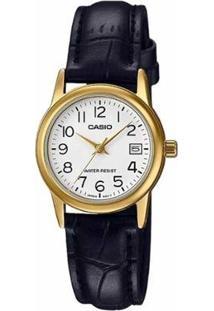 Relógio Feminino Casio Analógico Ltpv002Gl7B2 - Unissex-Preto