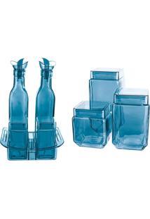 Conjunto Galheteiro Em Vidro Azul 8 Peças Euro Home - Kanui