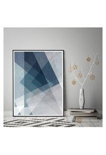Quadro Com Moldura Chanfrada Abstrato Tons Azul Pequeno