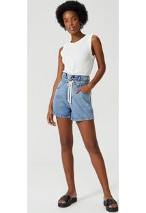 Shorts Jeans Cordão Cintura