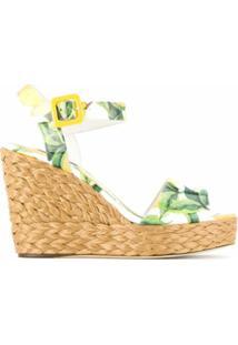 Dolce & Gabbana Sandália Anabela Estampada - Amarelo