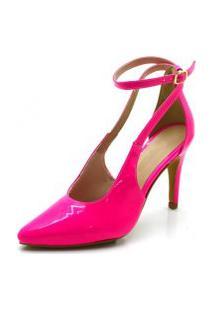 Sapato Scarpin Aberto Salto Alto Fino Em Napa Verniz Pink Neon