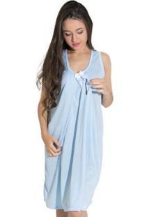 Camisola Linha Noite De Malha Amamentação - Feminino-Azul