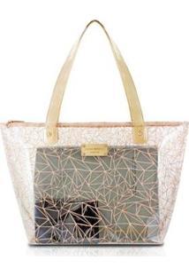 Bolsa Shopper Jacki Design Pvc - Feminino-Bege