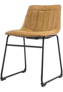 Cadeira Tamara Assento Courino Caramelo Com Base Aco Preto - 53159 - Sun House