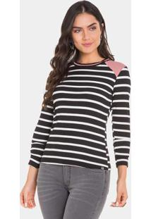 Blusa Malha Wave Stripe Long Preto/ Off White