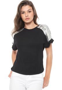 Camiseta Morena Rosa Recortes Metalizados Preta/Prata
