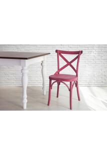 Cadeira De Madeira X Para Churrasqueira Torneada Com Encosto E Assento Anatômico Lilás Madeleine - 50X54,5X86 Cm
