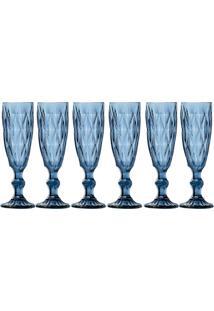 Jogo Com 6 Taças Para Champagne 140 Ml Hauskraft Azul