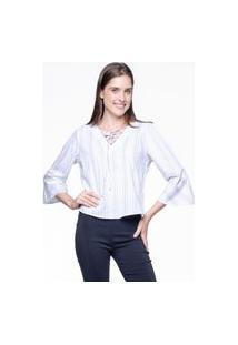 Blusa 101 Resort Wear Decote V Mangas Flare Algodao Listras Branco