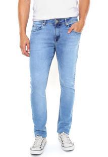 Calça Jeans Malwee Slim Estonada Azul