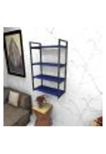 Estante Estilo Industrial Sala Aço Cor Preto 60X30X98Cm (C)X(L)X(A) Cor Mdf Azul Modelo Ind48Azsl
