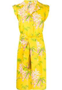 Kenzo Vestido Sea Lily Sem Manga Com Estampa - Amarelo