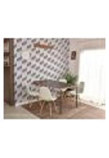 Conjunto De Mesa Dobrável Retrátil 1,40 Preto/Noronha + 4 Cadeiras Botonê - Branca