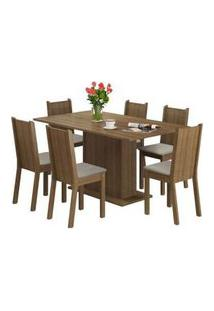 Conjunto Sala De Jantar Madesa Megan Mesa Tampo De Madeira Com 6 Cadeiras Rustic/Pérola Rustic/Pérola