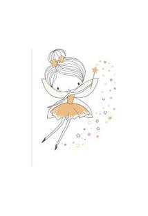 Quadro Quarto De Menina Fada Amarela Moldura Branca 22X32