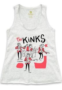 Camiseta Regata Rock Cool Tees Caco Galhardo Banda The Kinks Feminina - Feminino-Mescla Claro