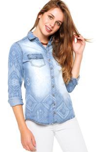 Camisa Jeans Malwee Geométrica Azul