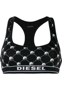 Diesel Blusa Cropped Yin Yang - Preto