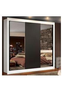 Guarda-Roupa Casal Madesa Lyon Plus 3 Portas De Correr Com Espelhos 4 Gavetas Branco/Preto Branco
